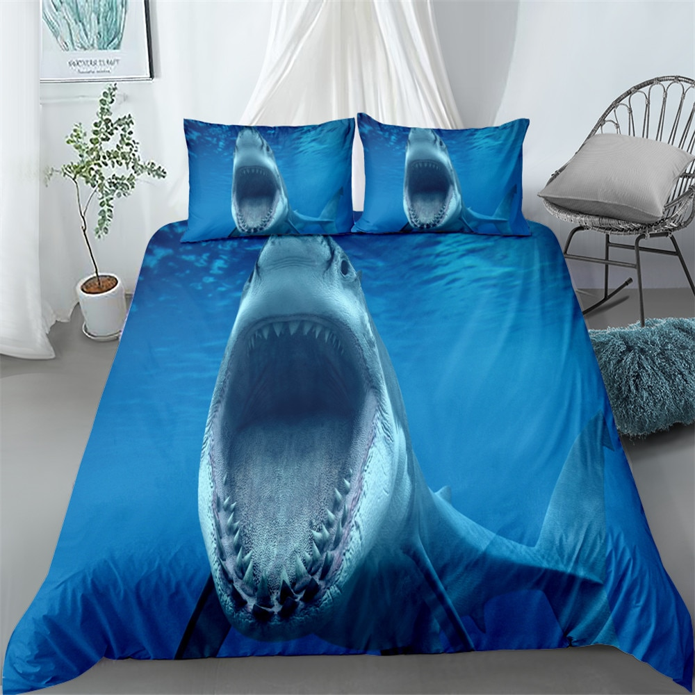 القاسية monsterous القرش طقم سرير الملك الملكة كامل حجم واحد حاف الغطاء كيس وسادة المفارش