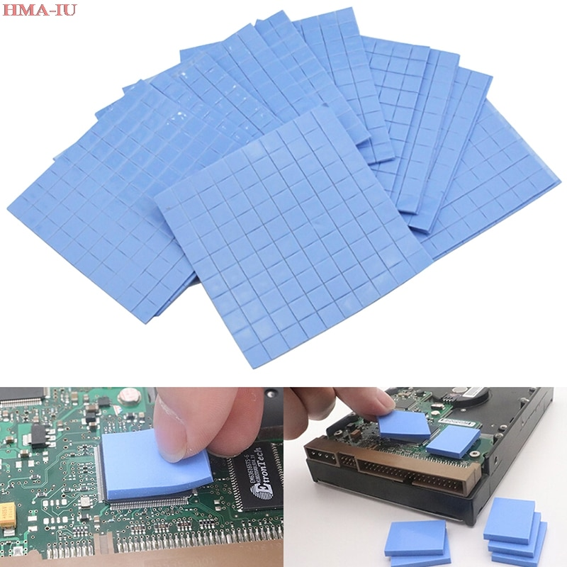 new gpu cpu heatsink cooling conductive silicone pad ic heat dissipation 100mm 100mm 1mm thermal pad high quality 100Pcs Silicone Thermal Pad GPU CPU Heatsink Cooling Conductive Silicone Pad 10*10*1mm for Cooling Pad CPU