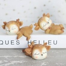 Resin Deer Ornaments Mini Cartoon Animal Crafts Cute Miniature Car Home Decorations Creative Auto Cake Baking Cartoon Decoration
