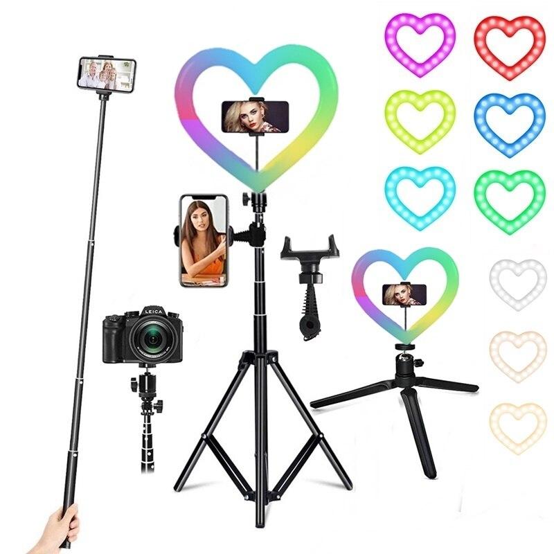 RGB عكس الضوء LED Selfie الدائري ملء ضوء التصوير مصباح حلقة Led مع مكتب ترايبود للماكياج فيديو لايف آرو دي لوز الفقرة celتني
