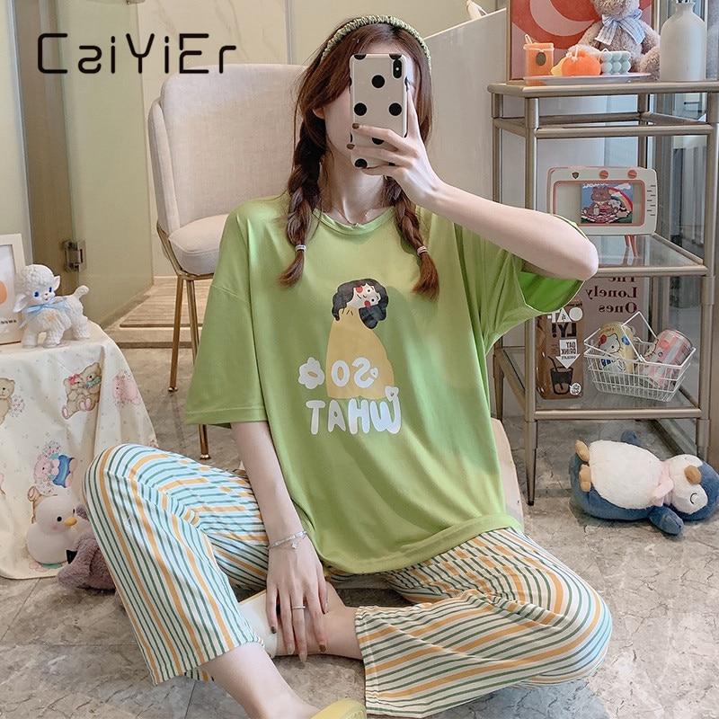 Женский пижамный комплект CAIYIER, летняя одежда для сна с коротким рукавом и милым мультяшным принтом, Повседневная Домашняя одежда радужной ...