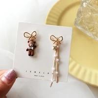eleelegance fashion bear dangle asymmetryearrings for women popular bow tie cartoon animal bear earring jewelry gifts