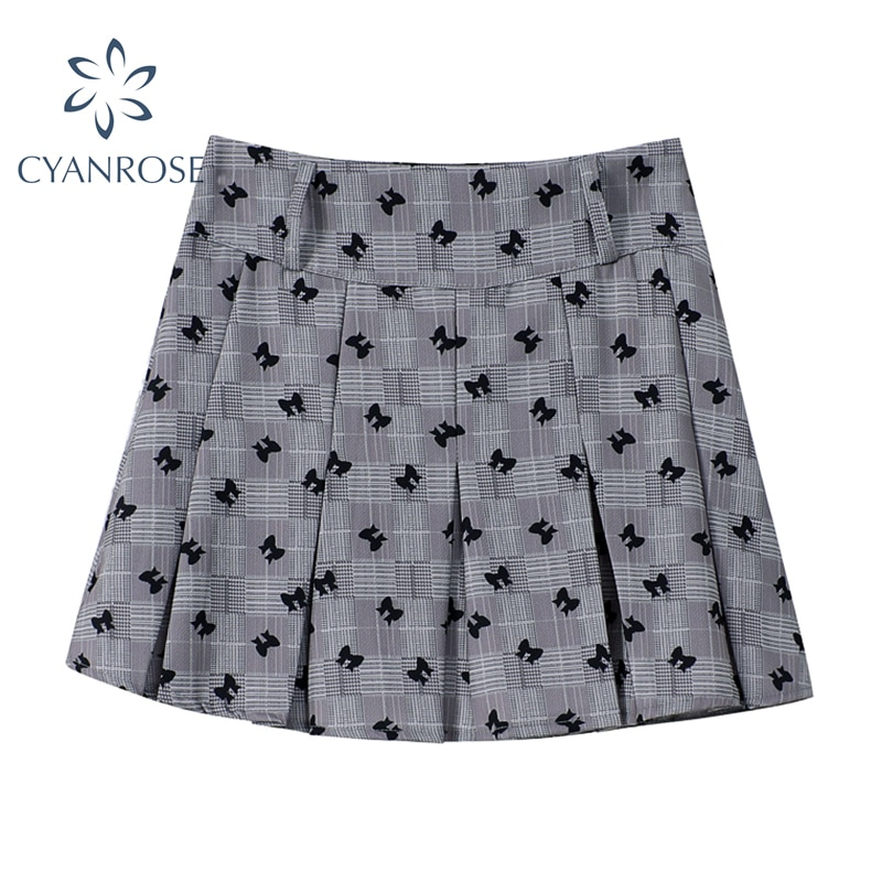 Y2K Harajuku Bows Printed Women's Pleated Skirts 2021 Summer New Fashion Vintage Preppy Style High W