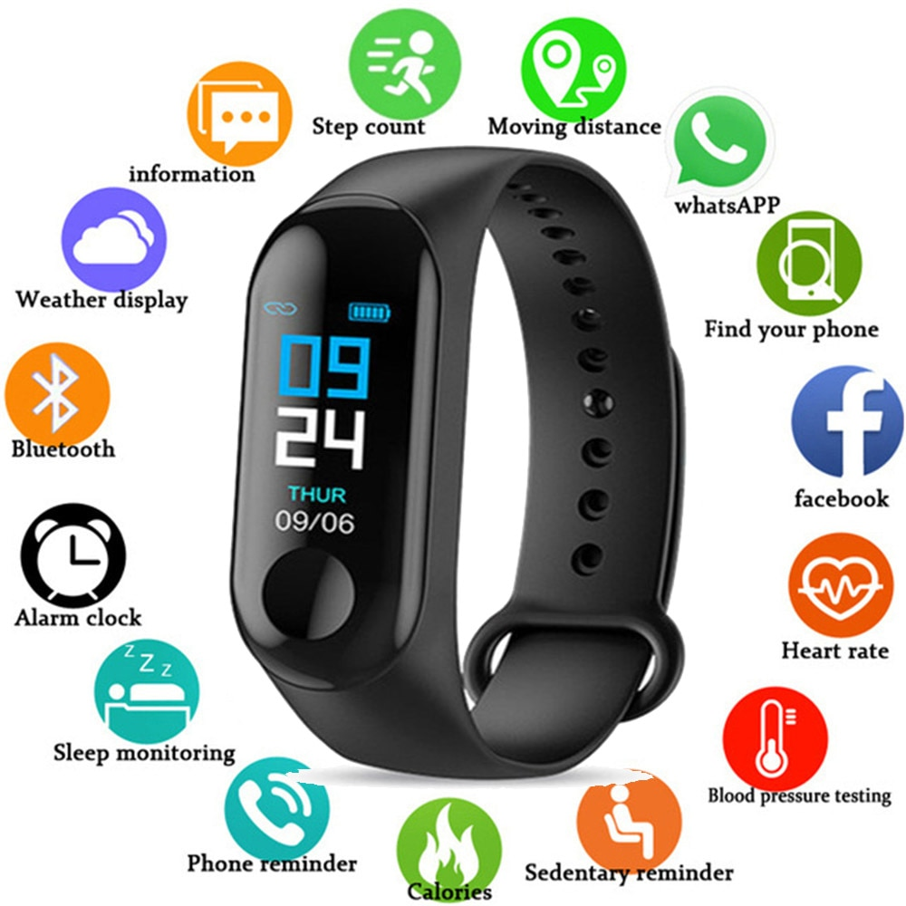 M3 Smart Bracelet Band Blood Pressure Heart Rate Fitness tracker Sleep monitor sport Smart watch col