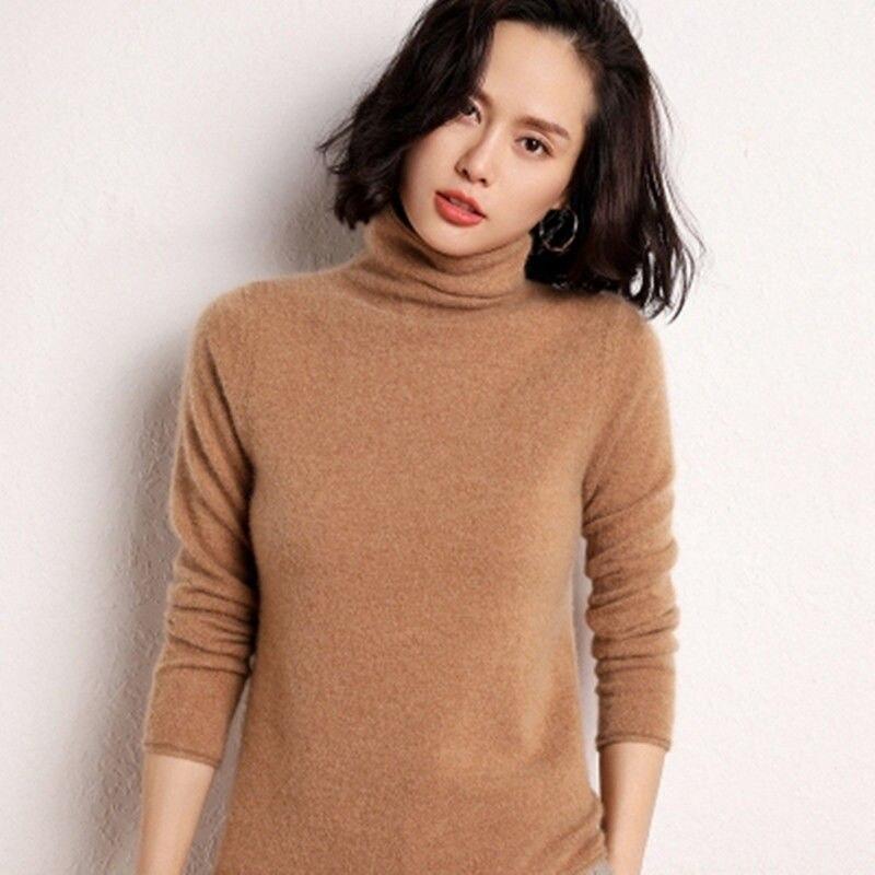 Свитер с высоким воротником, женский шерстяной свитер большого размера с длинным рукавом, кашемировый женский свитер, женский зимний свите...