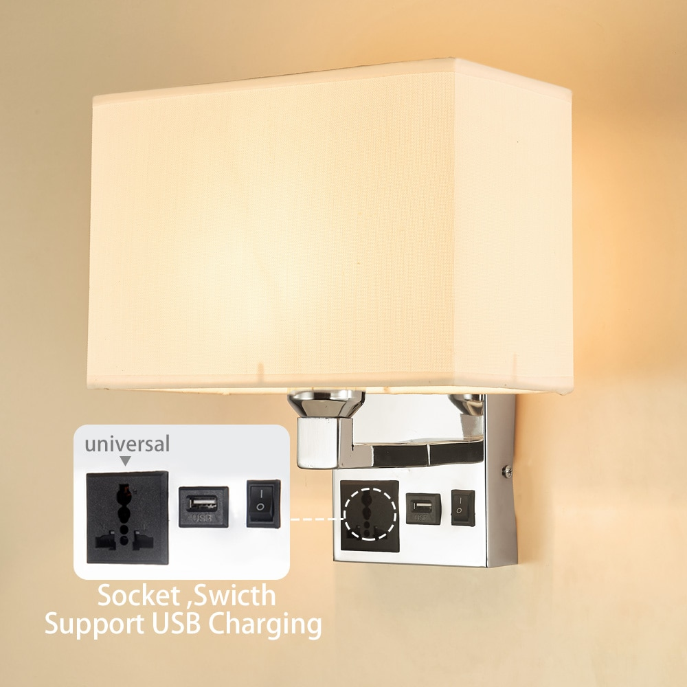 Adjustable E27 LED Bulb Wall Lamp Switch USB Socket Fabric Bedroom Bedside Living Room Modern Home Wall light