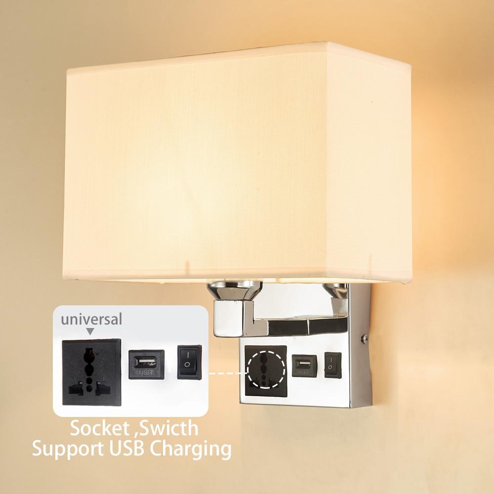 Bombilla LED E27 ajustable, lámpara de pared, toma de interruptor USB, tela, dormitorio, cabecera, sala de estar, moderna luz de pared para el hogar