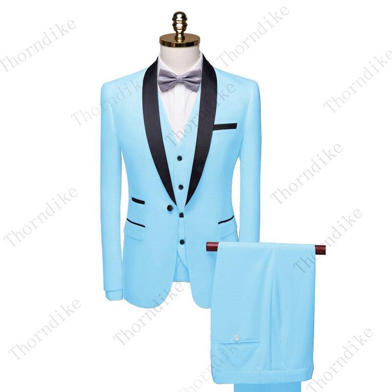 سترة رجالية من 3 قطع من Thorndike موضة 2020 باللون الأزرق الداكن ، سترة رسمية للأعمال ، شال ، لطية صدر السترة ، لزفاف العريس (سترة + سترة + بنطلون)