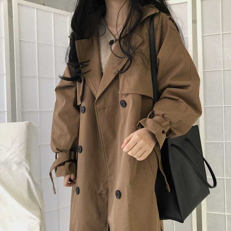 Женская винтажная ветровка, шикарный коричневый тренчкот, повседневный женский двубортный свободный тренчкот с длинным лацканом и поясом, ...