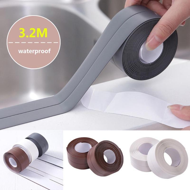 3,2 M impermeable a prueba de moho cinta adhesiva baño Esquina de etiqueta para la cocina de pared de baño de cinta de sellado de Gadgets