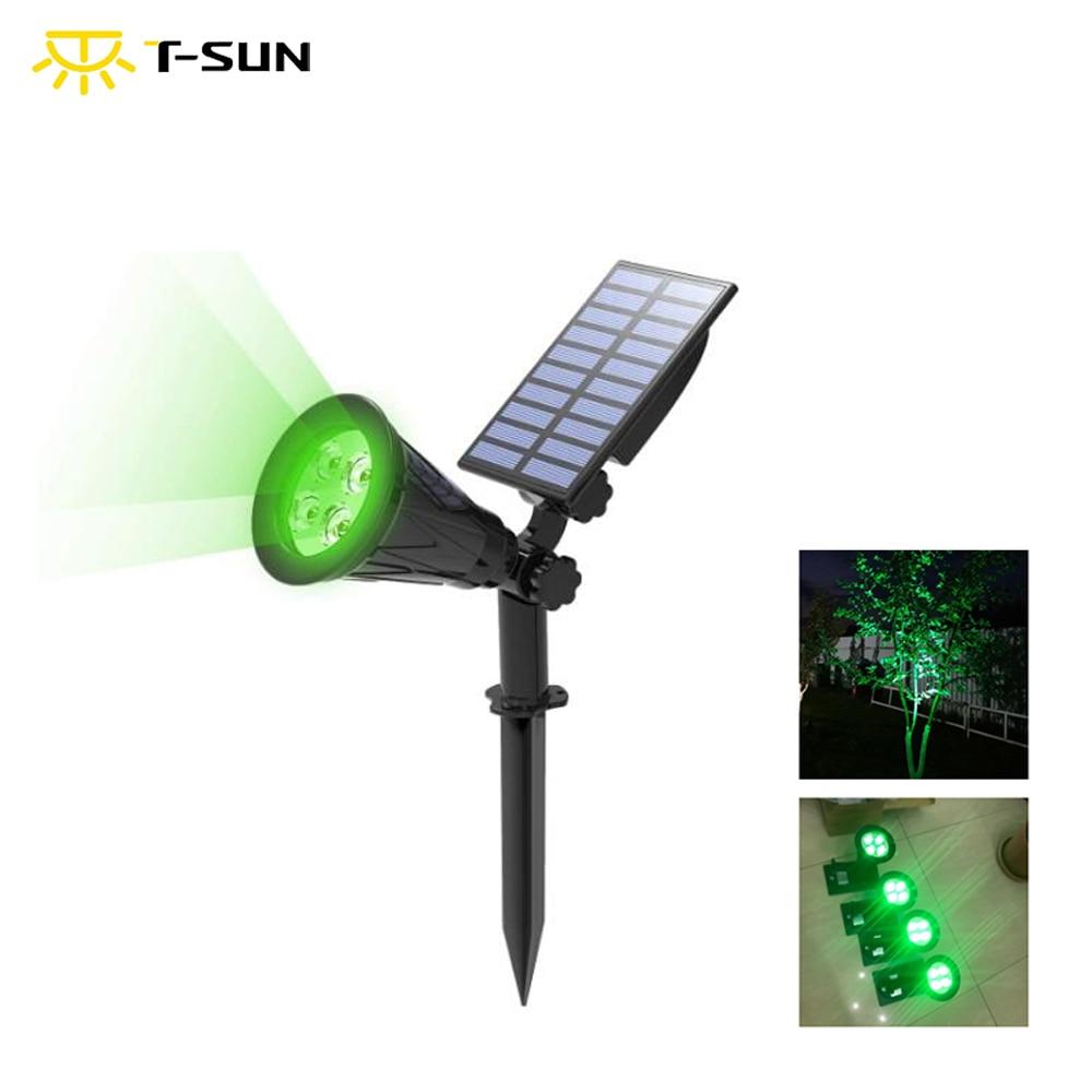 T-SUNRISE  Outdoor Solar Light Angle Adjustable 4 LED Lighting Waterproof Garden Light for Yard Path Green Color