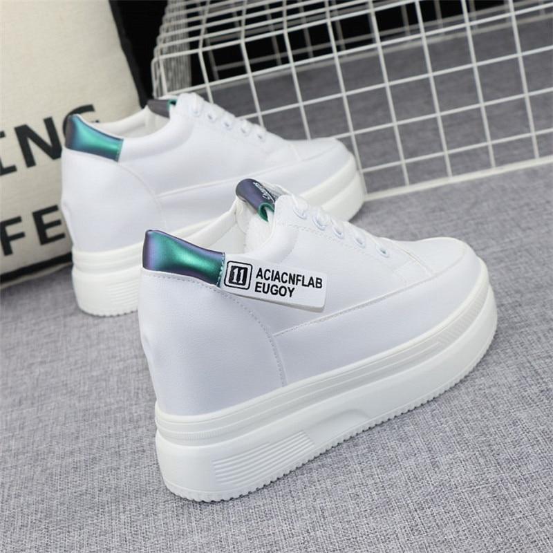 Women's Vulcanize Shoes Autumn White Chunky Sneakers for Woman 8cm Hidden Heel Shoes 2021 High Heels