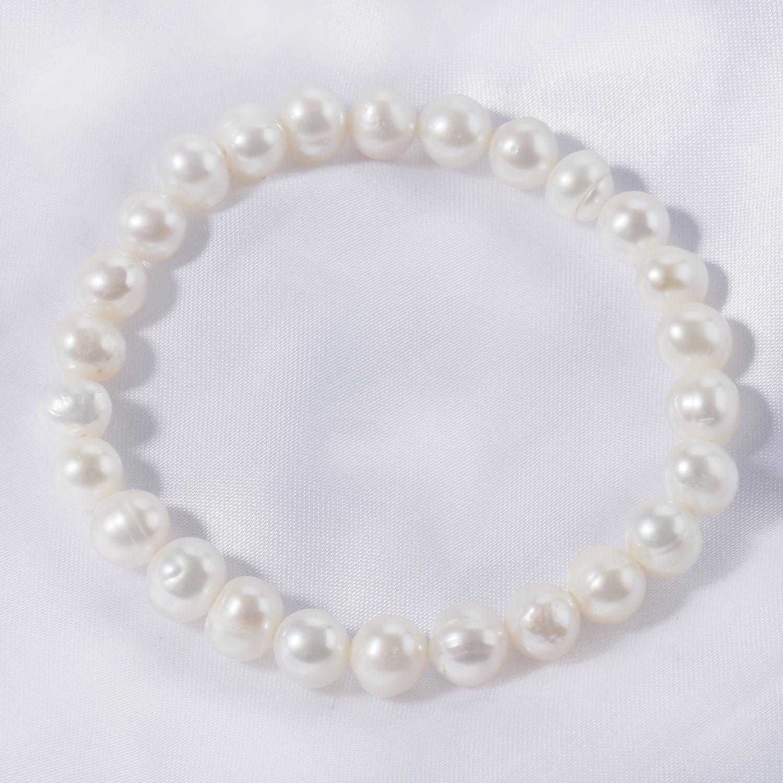 Beritafon Genuine Freshwater Pearl Stretch Bracelet Gift For Women or Girls