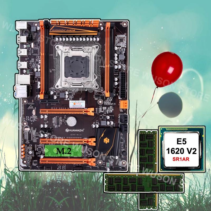 Godny zaufania dostawca sprzętu PC HUANANZHI Deluxe X79 procesor płyty głównej Xeon E5 1620 V2 3.7GHz RAM 16G (2*8G) DDR3 1600 RECC