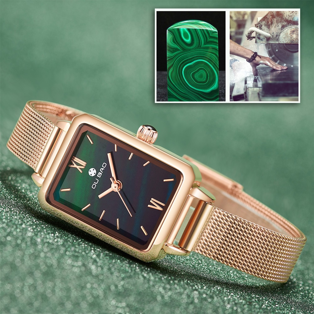Women's Luxury Rosegold Watch Ladies Creative Rectangle Dress Quartz Wrist Watch Female Clock Stainless Steel Bracelet Relogio enlarge