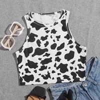 women summer halter strap vest sexy backless cow print tanks cropped top teen girls slim fit party clubwear 2021 camisetas a40