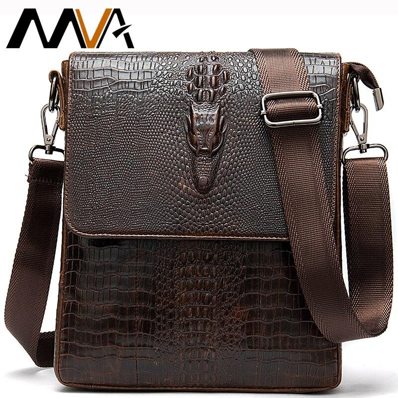 MVA patrón de cocodrilo de los hombres de hombro/bolsos cruzados para hombre bolso de cuero genuino de los hombres bolsos de mensajero masculino de negocios pequeños bolsos