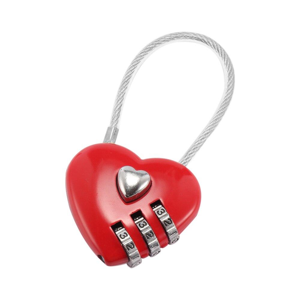 Bolsas de viaje con candado de tres bits con contraseña de corazón