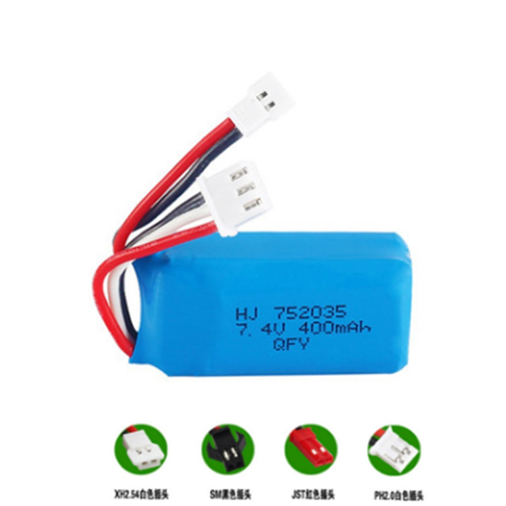7.4V 400mAh Lipo Battery For DM007 RC Airplane Quadcopter Drone Helicopter Toy Spare Parts 7.4V batt