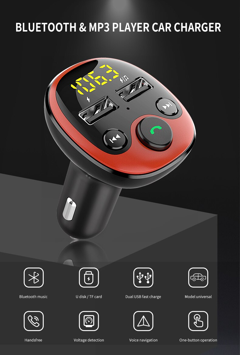 Car MP3 Music Player Bluetooth 5.0 Radio Adapter Modulator Car Kit with Dual USB Car Charger U disk / TF Card lossless Music