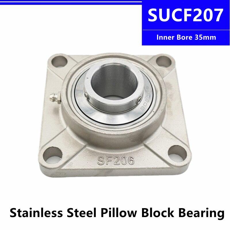 SUCF207 الفولاذ المقاوم للصدأ وسادة كتلة تحمل الداخلية تتحمل 35 مللي متر وحدة شنت الإسكان الخارجي كروية مربع تحمل مع مقعد