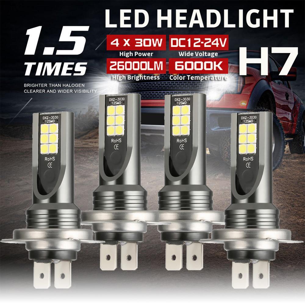 4pcs H7 Car COB LED Headlight Bulbs DC12-24V 26000LM 6000K White Auto High Low Beam Lamp honsco h7 24w 1800lm 5000k white light led high power car headlight kit dc12 18v 2 pcs