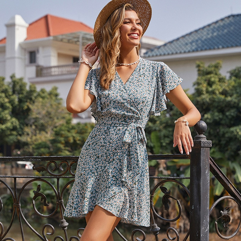 Ruffles Splice Holiday Boho Mini Dress Women Summer Chiffon V Neck Short Flare Sleeve Casual Chic Sashes Floral Dresses 2021