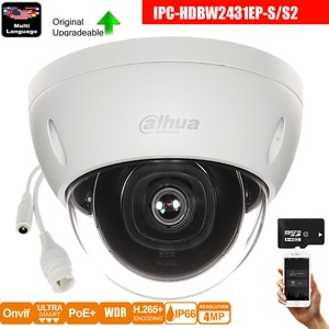 Dahua Original IPC-HDBW2431E-S 4MP HD POE SD Card Slot H.265 IP67 IK10 30M IR Starlight IVS WDR Upgradeable Mini Dome IP Camera