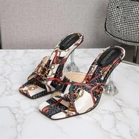 2021 new pointed toe womens slippers high quality fashion sandals sexy womens shoes 9cm crystal heel high heels 35 45 46