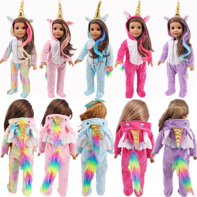 Unicorn One-piece Pajamas+Wig/DressFor 18Inch American&17Inch 43cm Born Baby Doll Clothes Accessories Generation Russian DIY Toy