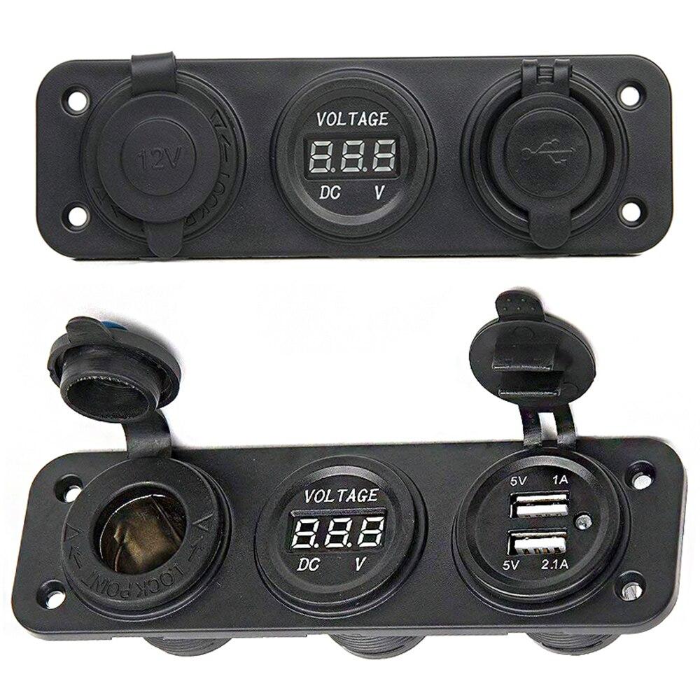 DC 12V Car Electronics Cigarette Lighter USB Socket Splitter Motor Car DC Digital Voltmeter 3 Hole Panel Power Socket/Dual USB