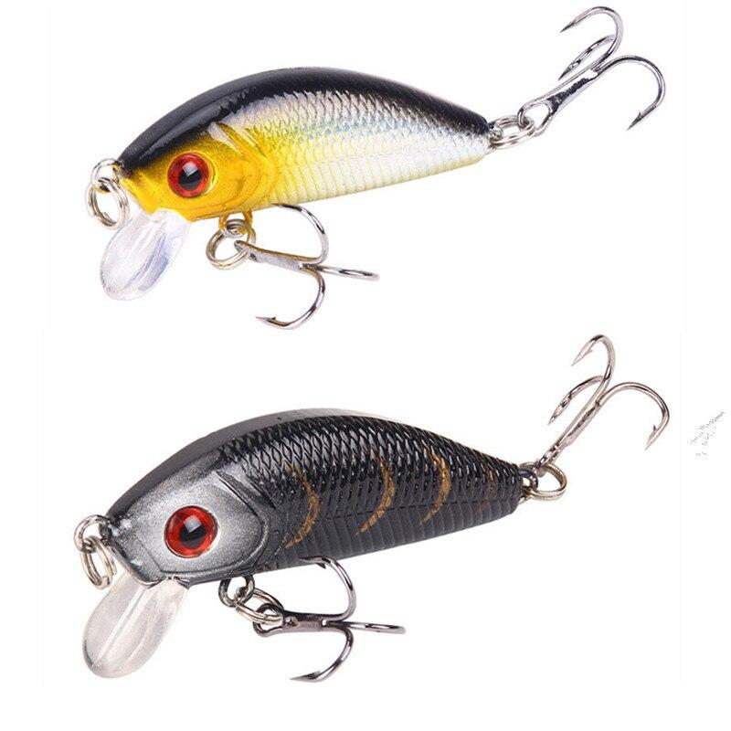 1 шт. Minnow приманки для ловли рыбы, 50mm4.2g поплавок, твердая приманка с крючком 3D воблер с глазами для ловли карпа, черной рыбы, полосатого о…