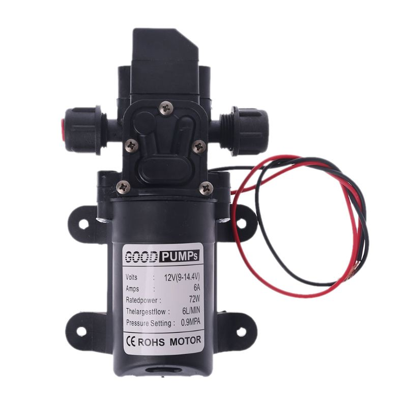 Dc 12 v 130psi 6l/min água de alta pressão diafragma auto priming bomba 70 w whosale & dropship