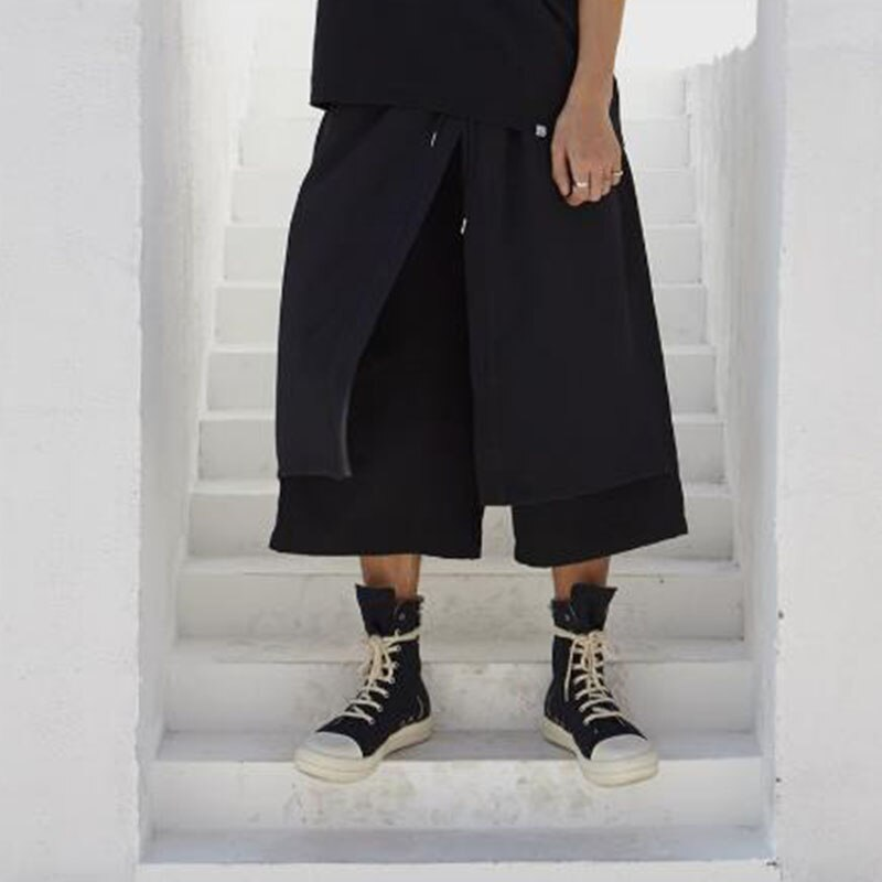Men Japan Kimono Loose Wide Leg Pant Fashion Casual Skirt Trousers Male Streetwear Hip Hop Punk Harem Pants Mens Pants