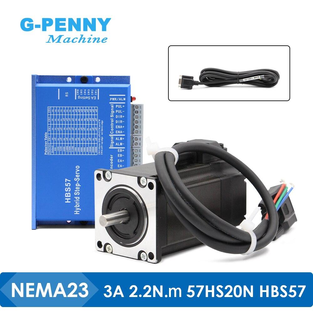 جديد وصول! Nema23 مصد حلقي مغلق موتور 2.2Nm HBS57 و 57HS20N هيبيرد سيرفو سائق 2 المرحلة تيار مستمر (16-70 فولت) نك راوتر طابعة ثلاثية الأبعاد