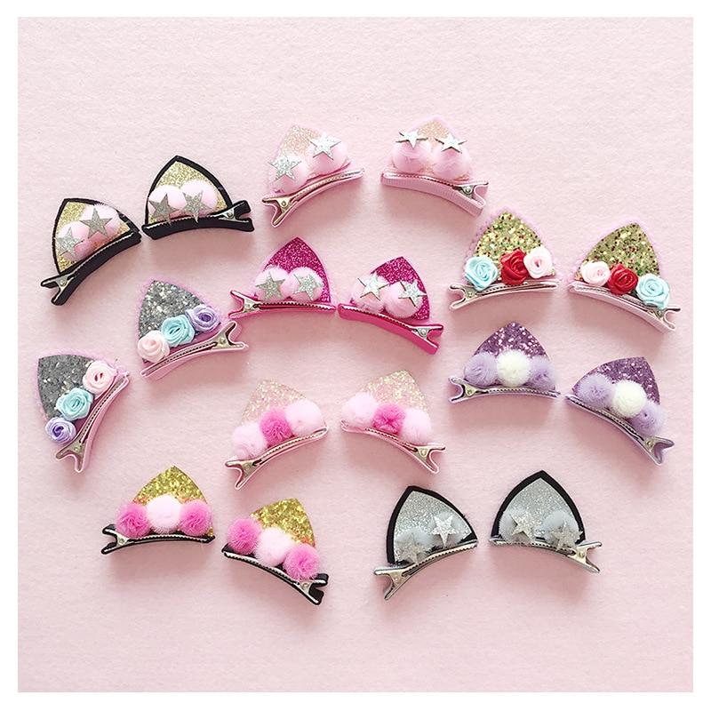 2 Pcs/ set Hairpin cute children's hair accessories cat ears rabbit furry girl hairpin flash rainbow