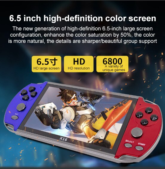 X16 6.5 Inch Video Game Console Built In 1000 Games 8GB Handheld Double Joystick HD Screen Game Controller Spupport AV Output TF enlarge