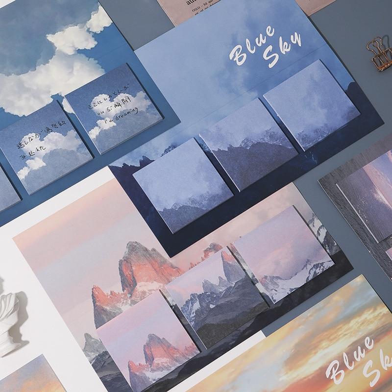 60 uds japonés cielo azul nieve montaña Sticky N Times Memo Pad papelería lindo planificador diario nota decorativa mensaje Papeleria