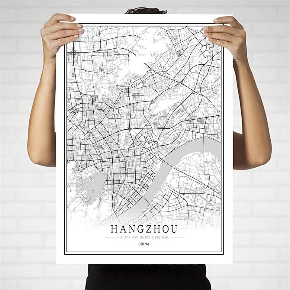 Póster de Mapa de Ciudad blanco y negro de China, arte de pared de Pekín Hong Kong Macao Chongqing, decoración del hogar, pintura en lienzo, regalo creativo