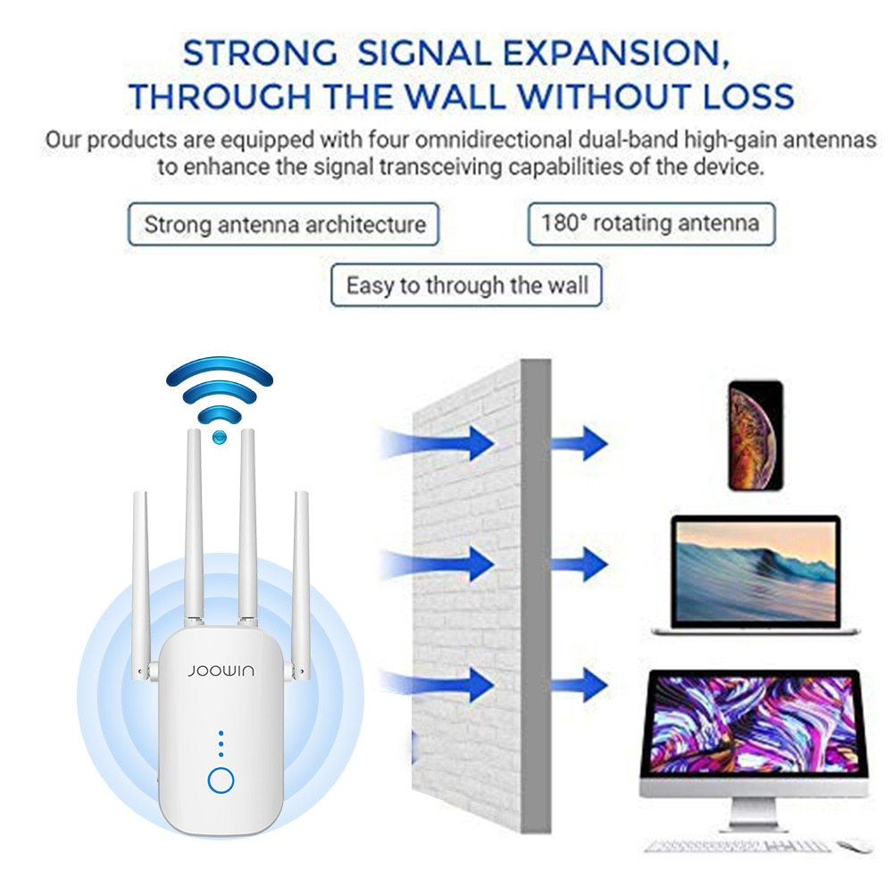 Long WiFi Range Extender Repeater 1200Mbps Signal Booster 2.4G + 5Ghz Dual Band wifi Amplifier Repeater/Wireless Access Point enlarge