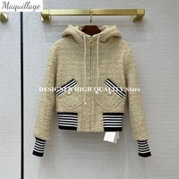 top quality 98 wool tweed coat women hooded zipper fly stripes patchwork retro loose jacket 2021 new spring autumn outwear