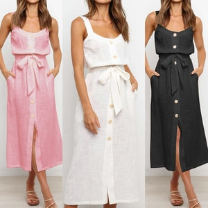Dresses For Women 2021 Buttons Bandage Solid Color Sling Vest Sleeveless Dresses Ladies Casual Sexy Loose Long Dress Clothing