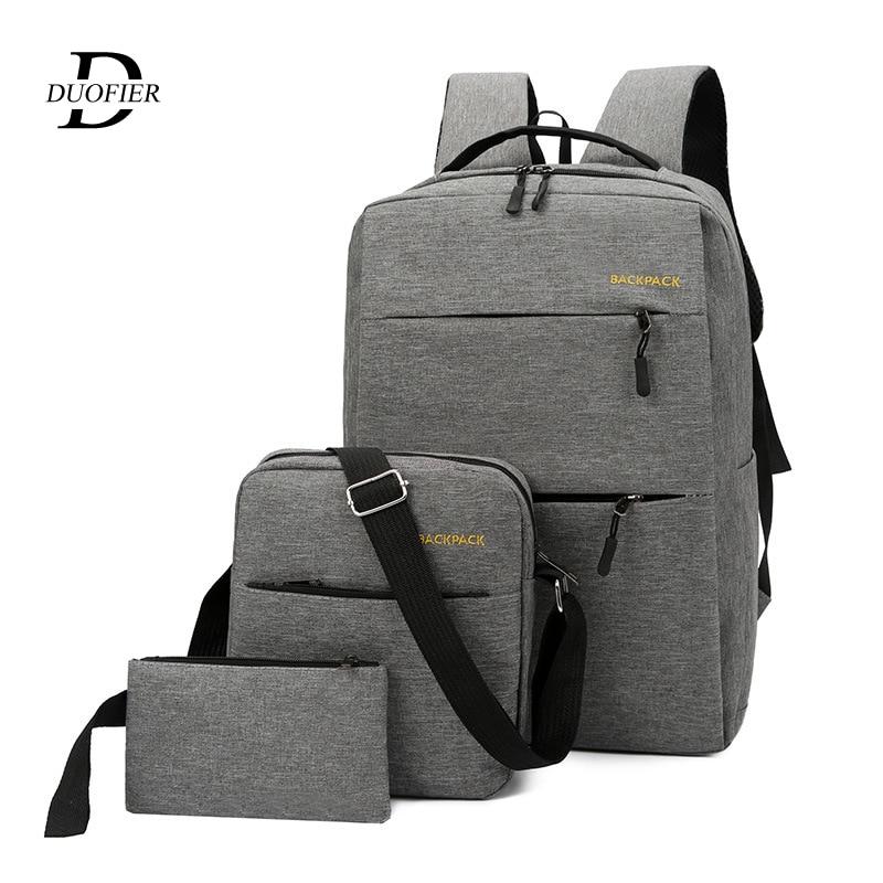 3pcs/set Men's Backpack Bag Male USB Charging Laptop Backpack Women Computer Bags Schoolbag Men Shoulder Bag Sets Bags 3 Pieces