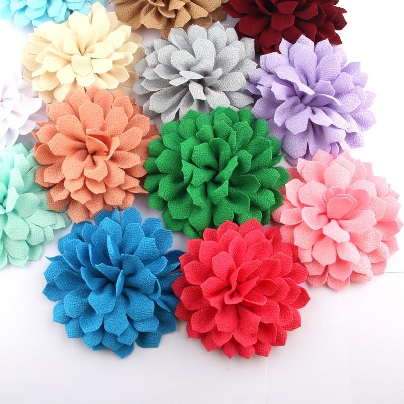 """200 pçs 10.5 cm 4.2 """"nova pétala tecido flores para acessórios do cabelo multi camada cetim flor para grampos de cabelo hairbands bouquet"""