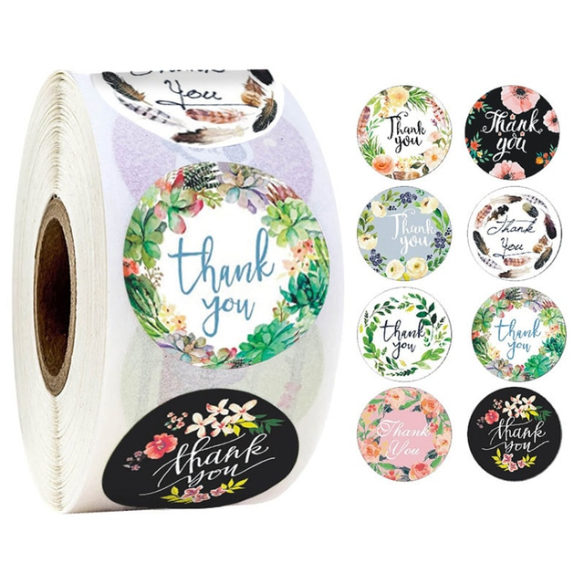 500pcs/Roll Round Floral Thank You Sealed Label Sticker
