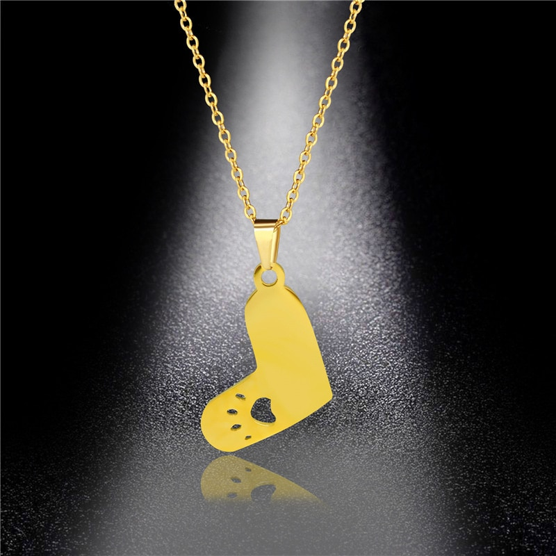316l stainless steel animal paw charm necklace gold silver tone hollow out lovely cat dog print paw pendant long chain necklace 2021 New Fashion Cute Cat Paw Hollow-out Charm Necklace Titanium Steel Heart Animal Pendant Chain Necklace Jewelry Couple Gifts