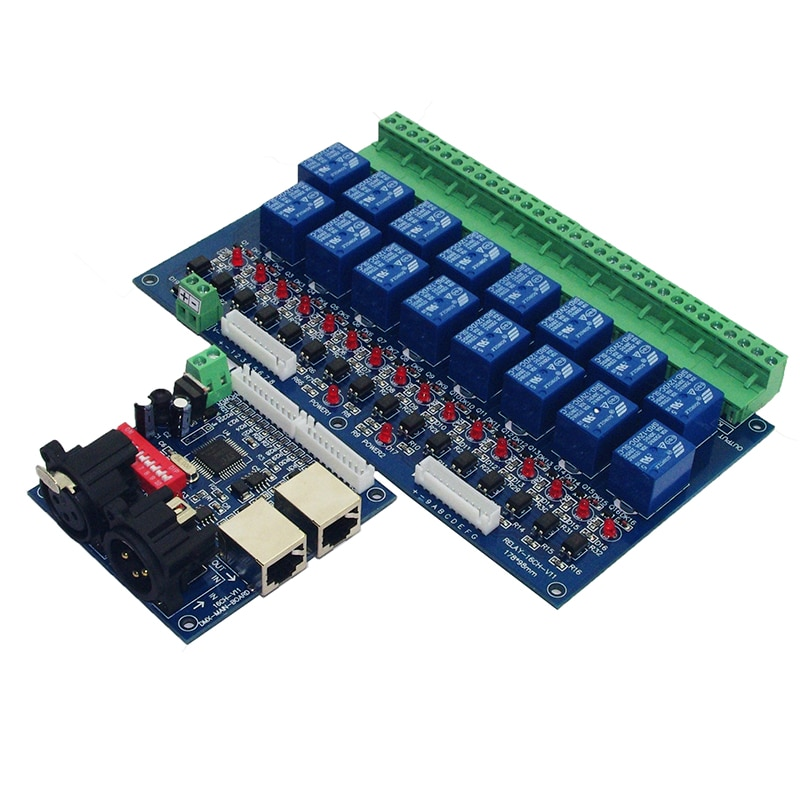 16CH Relay switch dmx512 Controller,relay output,DMX relay control,16way relay switch DC12V main-board & DMX-RELAY-16CH enlarge