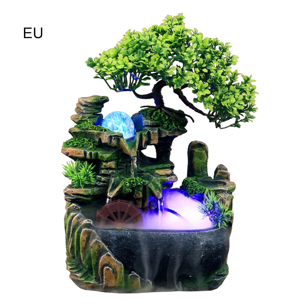 Moderne Kleine Steingarten Wasserfall Brunnen Luftbefeuchter Home Office Decor Desktop Desktop Micro-landschaft Bonsai