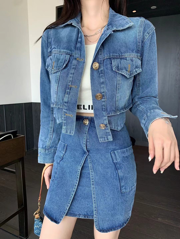 2021 early autumn fashion new denim suit commuter women's short denim jacket + skirt