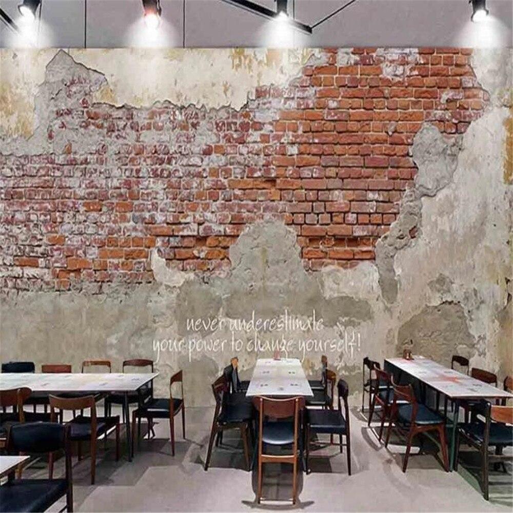 Milofi большие нетканые обои роспись ретро цементная кирпичная стена кирпичный узор кафе KTV Ресторан оснащение фоновая стена